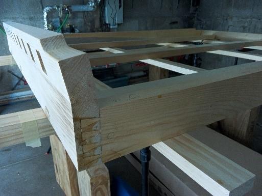 Completed glueup of bed frame half blind dovetail joint corner