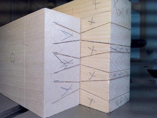 Bed frame rails marks cut for half blind dovetail joiner